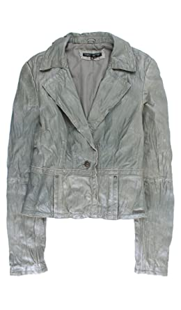 Amazon.com: Cristian Lay Women Gray Leather Jacket 95753380 ...