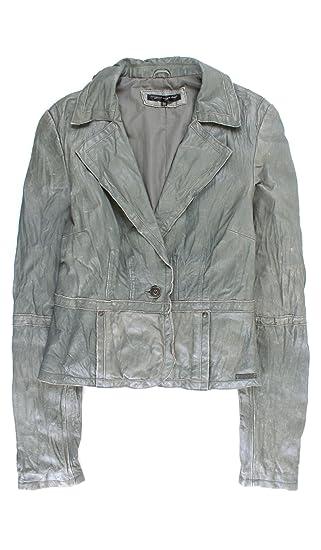 Cristian Lay Women Gray Leather Jacket 95753380 Chaquetas de Cuero para Mujer Ropa de DAMA S