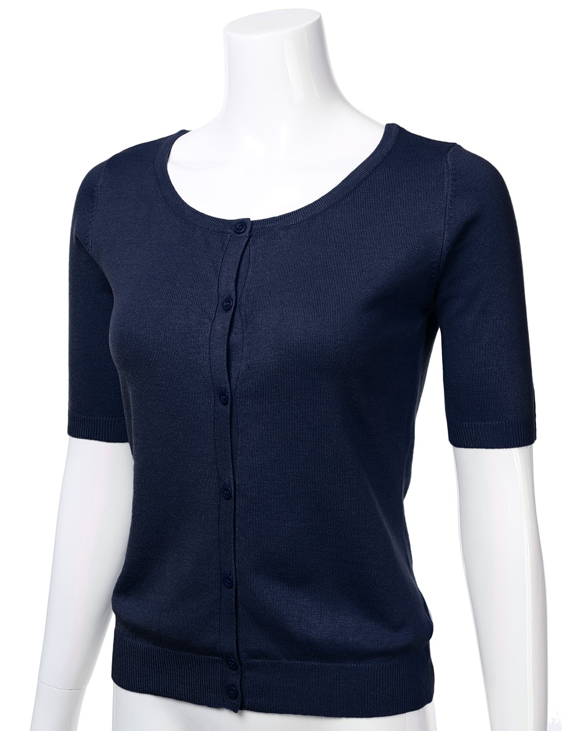FLORIA Womens Button Down Fitted Short Sleeve Fine Knit Top Cardigan Sweater Navy L by FLORIA (Image #2)