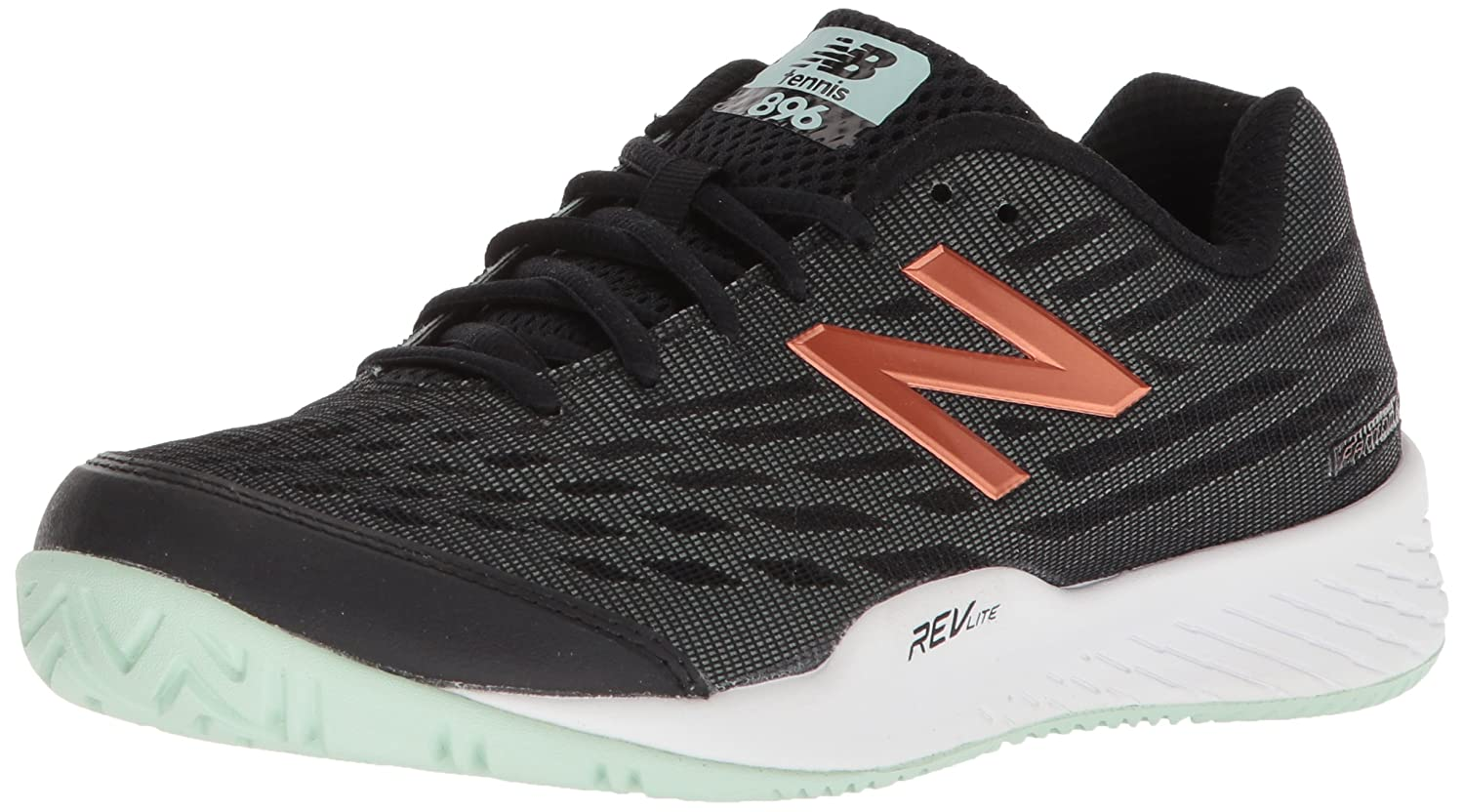 New Balance Women's 896v2 Hard Court Tennis Shoe B0751GPZ24 10 B(M) US|Black/Seafoam
