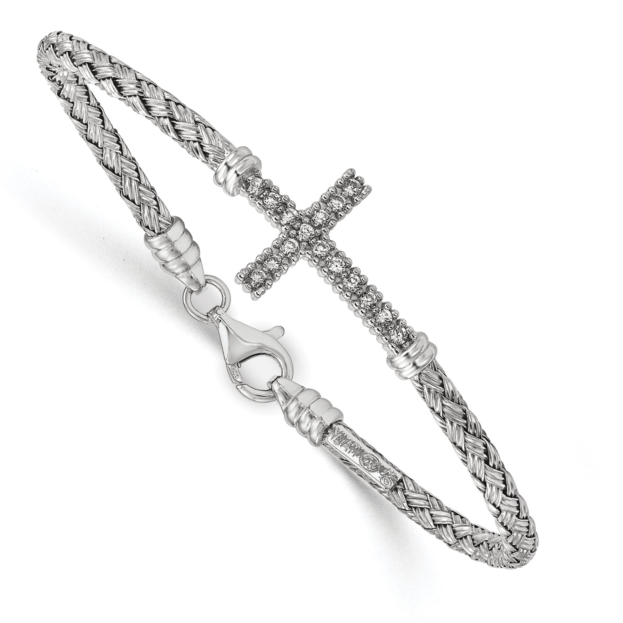 ICE CARATS 925 Sterling Silver Cubic Zirconia Cz Italian Cross Religious Bangle Bracelet Cuff Expandable Stackable Fine Jewelry Gift Set For Women Heart