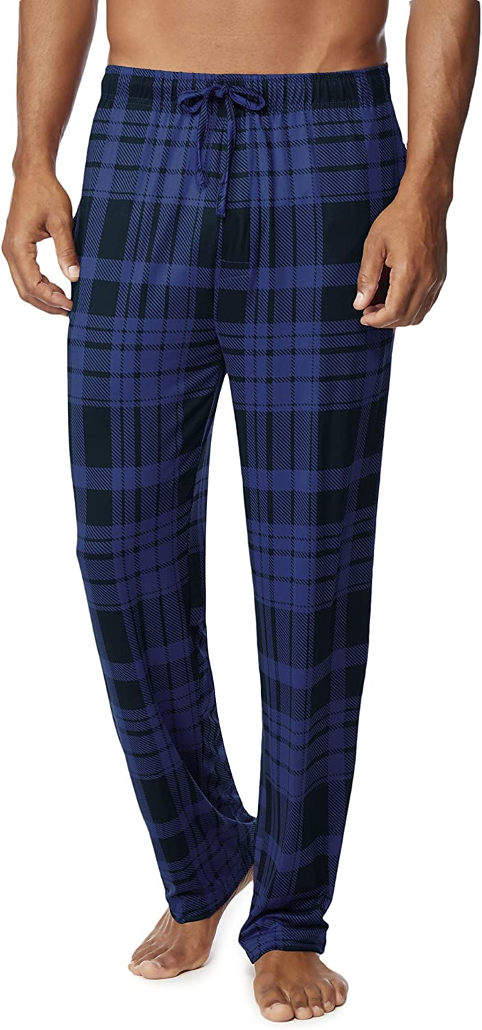 32 DEGREES Mens Cool Knit Wicking Lounge Pant, Copen Navy Plaid, Size XLarge