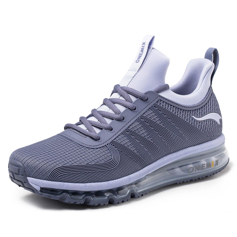 9b4201931 Amazon.com | ONEMIX Running Shoes Men Air Cushion Lightweight Sport Shoes  1191 Silver Grey 10 | Running
