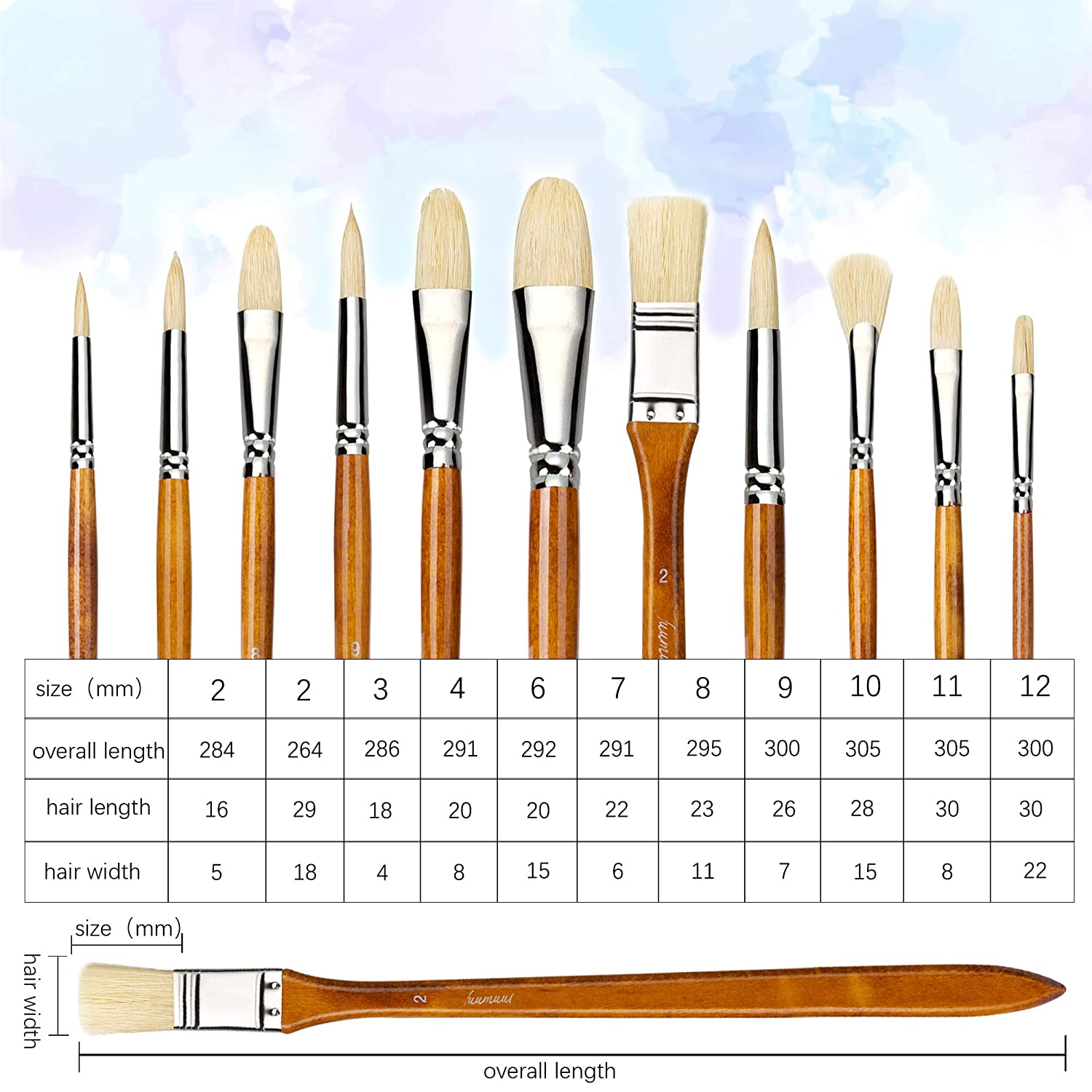 Gray/&Orange 13pcs Professional Paint Brushes Long Handle Art Brush for Acrylic Oil Watercolor Artist Face and Body Professional Painting Kits with Carrying Travel Bag