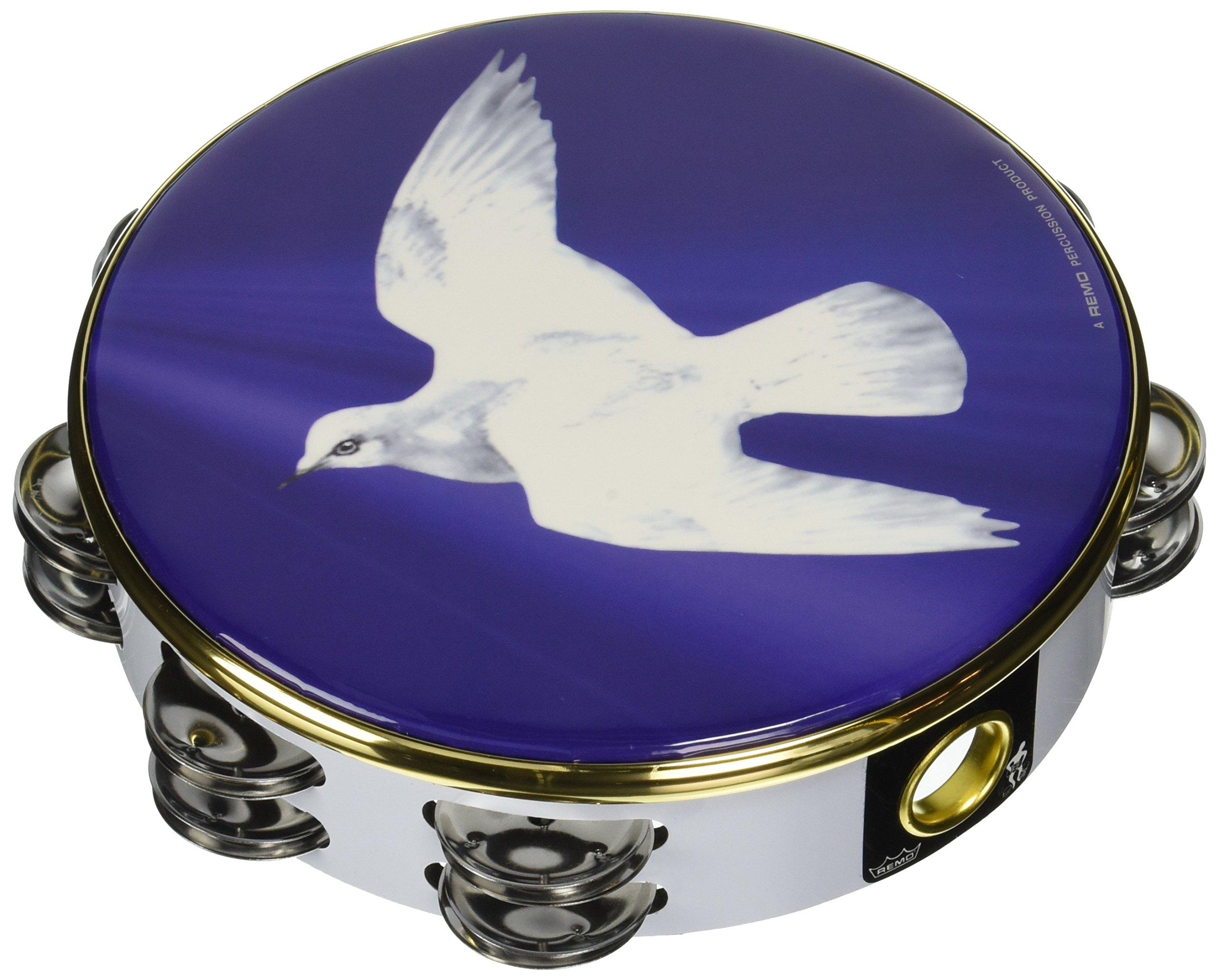 Remo Tambourine, 8'' Diameter, 8 Pairs Jingles x 2 Rows, 'Religious Dove' Graphic by Remo