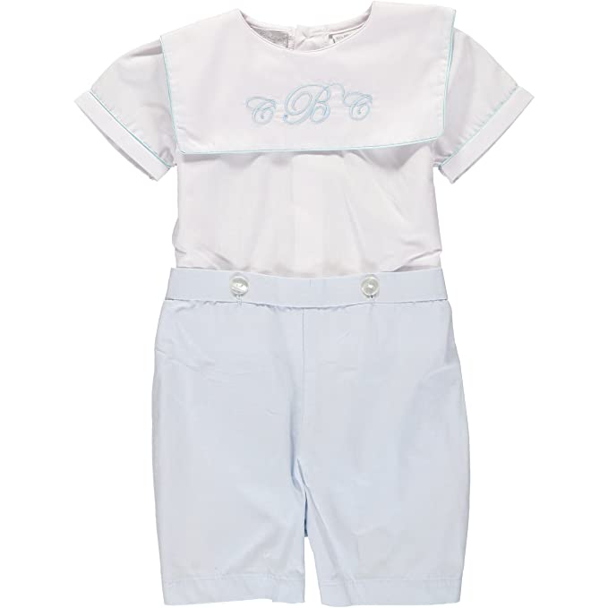 1940s Children's Clothing: Girls, Boys, Baby, Toddler Carriage Boutique Baby Boy Classic Monogram Blank Bobbie Suit - White Blue $32.00 AT vintagedancer.com