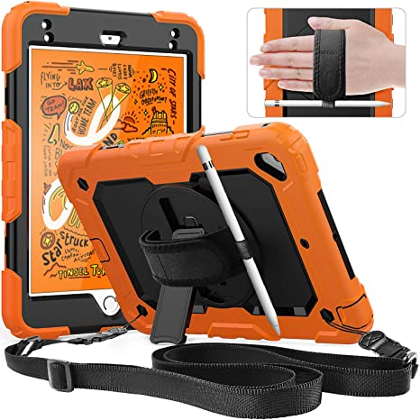 separation shoes 25f7e 60877 SXTech iPad Mini 5/4 Case, Three Layer Hybrid Drop Protection Case with  [360 Rotating Stand] Hand Strap&[Stylus Pencil Holder] Screen Protector for  ...