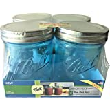 Ball Mason Jar-16 oz. Aqua Blue Glass Wide Mouth - Set of 4