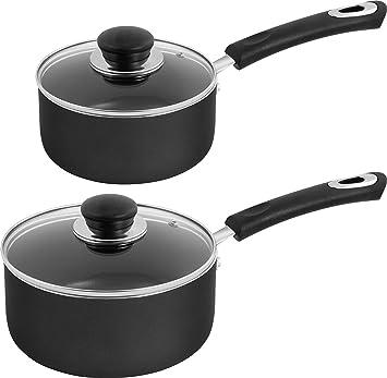 Amazon Com Utopia Kitchen Nonstick Saucepan Set 1 Quart And 2 Quart Glass Lid Multipurpose Use For Home Kitchen Or Restaurant Grey Black Kitchen Dining