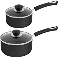 Utopia Kitchen Nonstick Saucepan Set - 1 Quart and 2 Quart - Glass Lid - Multipurpose Use for Home Kitchen or Restaurant…
