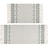 Pauwer Cotton Area Rug Set 2 Piece Machine Washable Printed Cotton Rugs with Tassel Hand Woven Cotton Rug Runner for…