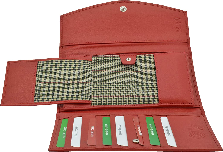GreSel Cartera para mujer, en cuero genuino, con protección RFID, hecha a mano, con caja de regalo