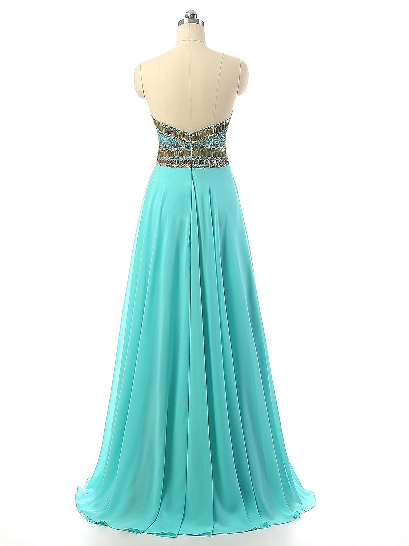Amazon.com: Changjie Women\'s Sweetheart Beaded Chiffon Prom ...
