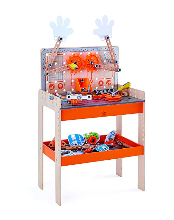 Hape Deluxe Scientific Workbench | Wooden Inventor's Experiment Building Set, 79 Piece Workshop for Kids