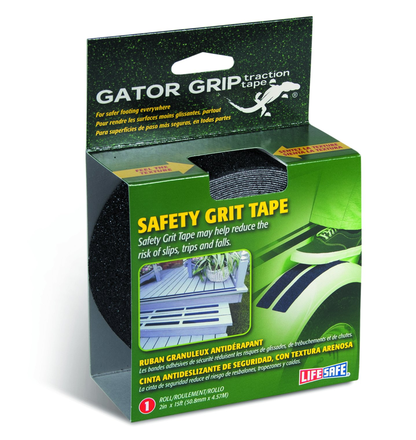 Gator Grip : RE3951 Premium Grade High Traction Non Slip 60 Grit Indoor Outdoor Anti-Slip Tape, 2 Inch x 15 Foot, Black by Gator Grip