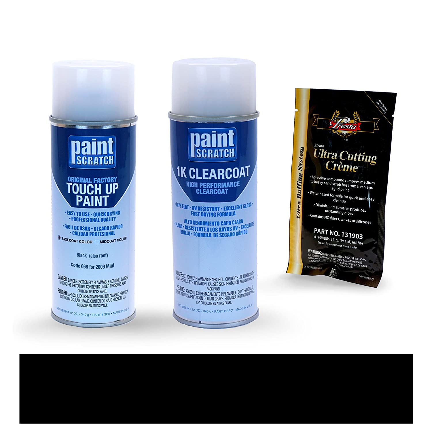 PAINTSCRATCH Black (Also Roof) 668 for 2009 Mini Cooper - Touch Up Paint Spray Can Kit - Original Factory OEM Automotive Paint - Color Match Guaranteed