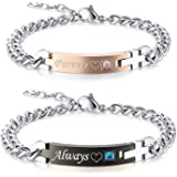GAGAFEEL Couple Bracelets, Custom Engraved Forever Always ID Cuff Stainless Steel Link, His Hers Personalized Bracelets, Cute