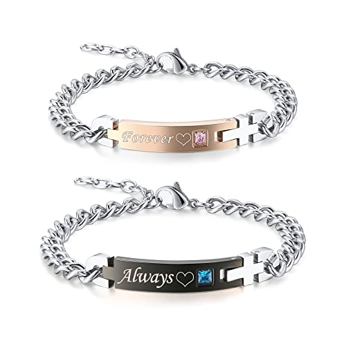 3bf45bea257e GAGAFEEL His Only Her One Stainless Steel Chain Couple Bracelet Gift Set  for Lover (Always