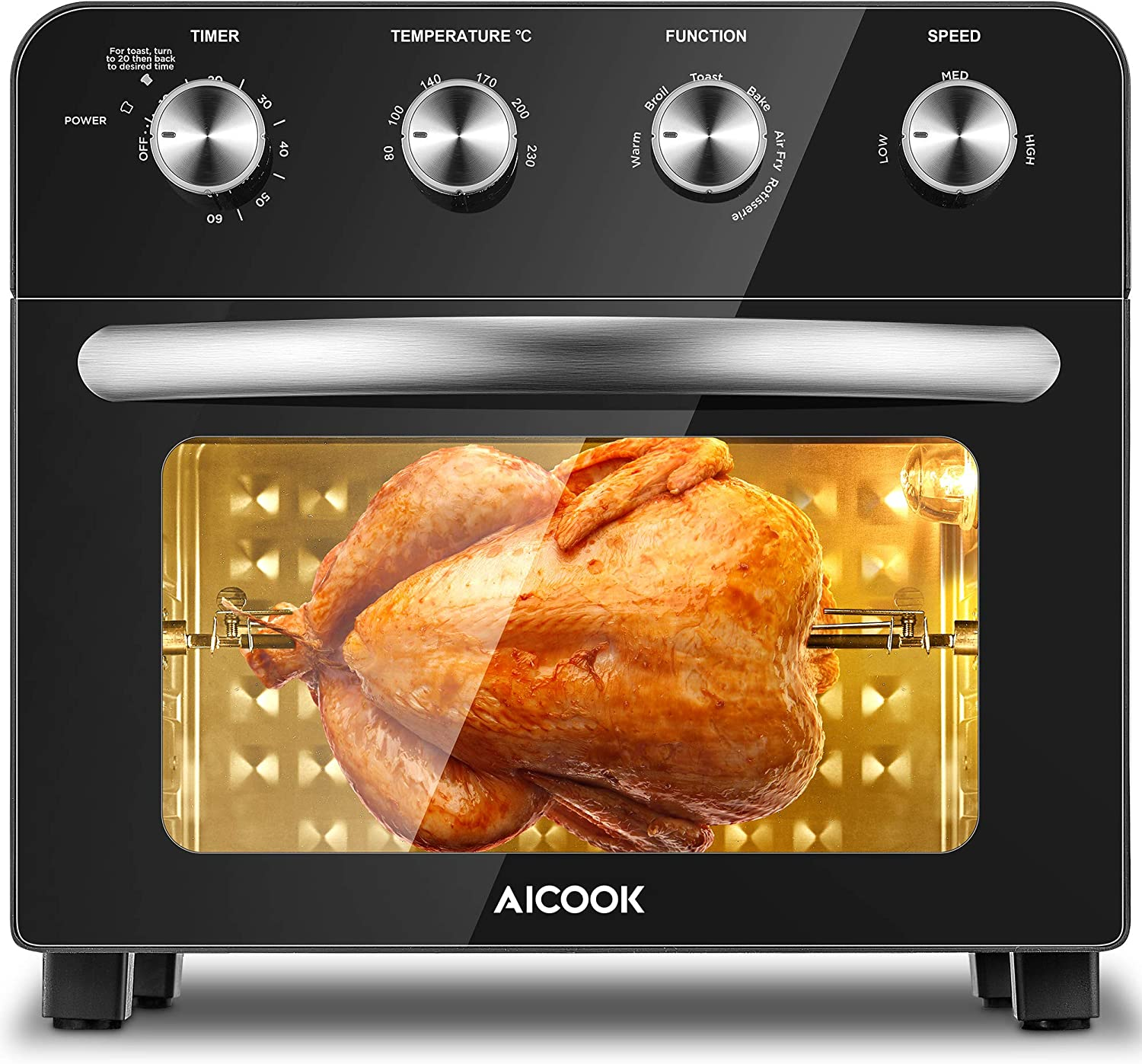 Aicook Hot Air Fryer 23 L Air Fryer 1700 W Airfryer Mini Oven Without Oil With Precise Temperature Control Ideal For Pizza Chips Steak And Toast 75 Recipes Black Küche Haushalt