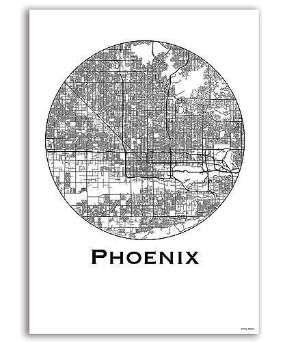 Cartel Phoenix USA Minimalista Mapa - City Map, decoración ...