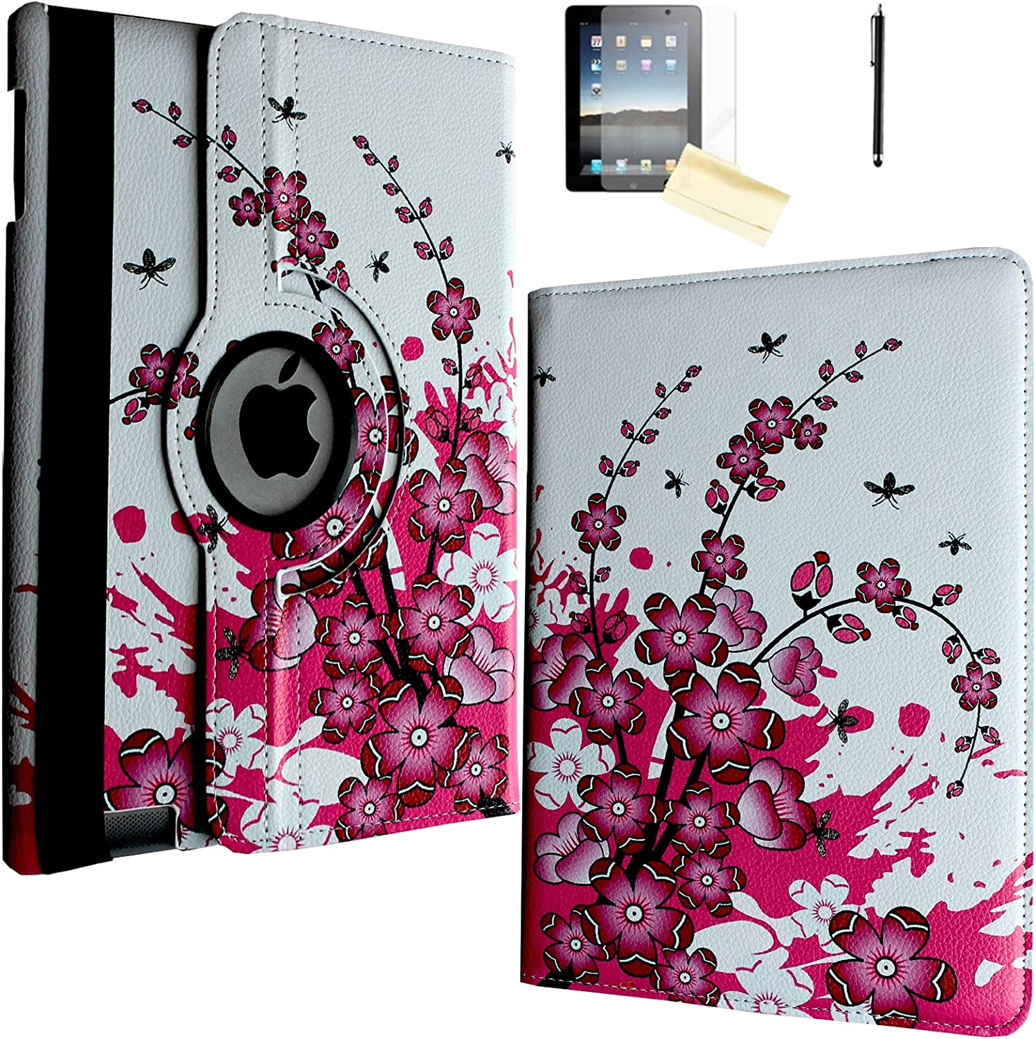 JYtrend Case for iPad 2, iPad 3, iPad 4, Rotating Stand Smart Case Cover Magnetic Auto Wake Up/Sleep for iPad 2/3/4 A1395 A1396 A1397 A1403 A1416 A1430 A1458 A1459 A1460 (Pink White Flower)