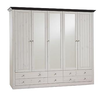 Kleiderschrank weiß landhausstil gebraucht  Steens Monaco Landhaus Kleiderschrank, skandinavische Kiefer, 5 ...