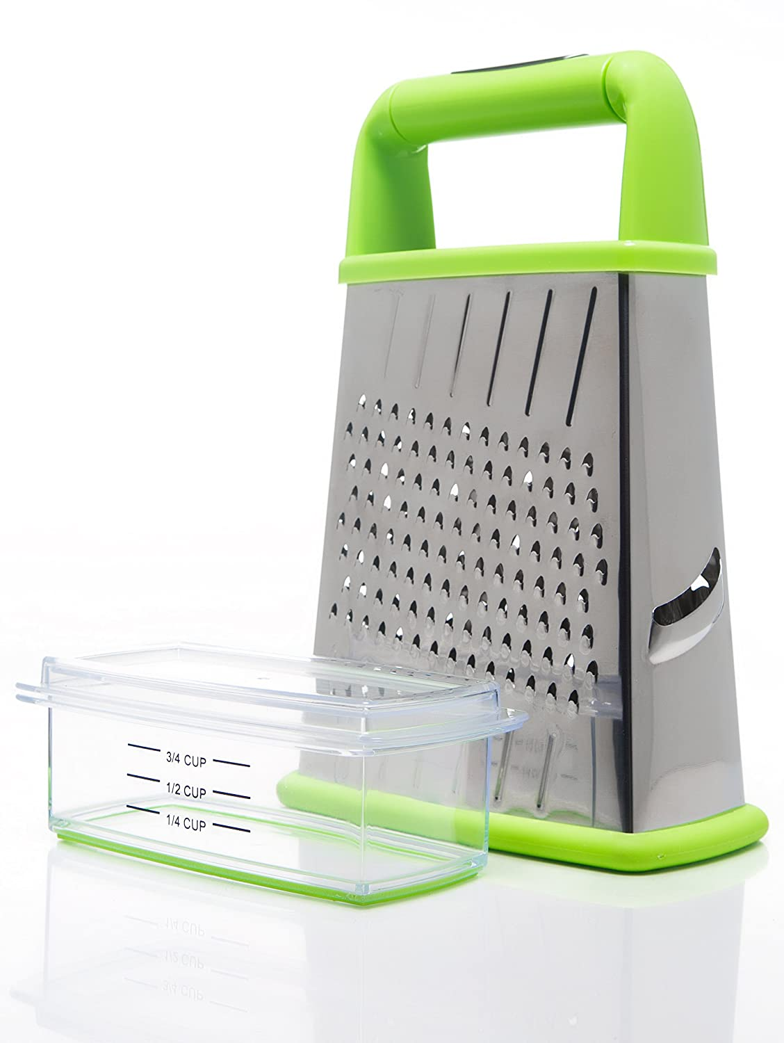 Home Icon Cheese Grater with Integrated Container, Lid and Measurement Lines