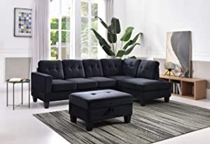 Glory Furniture Monaco Sectional, Black