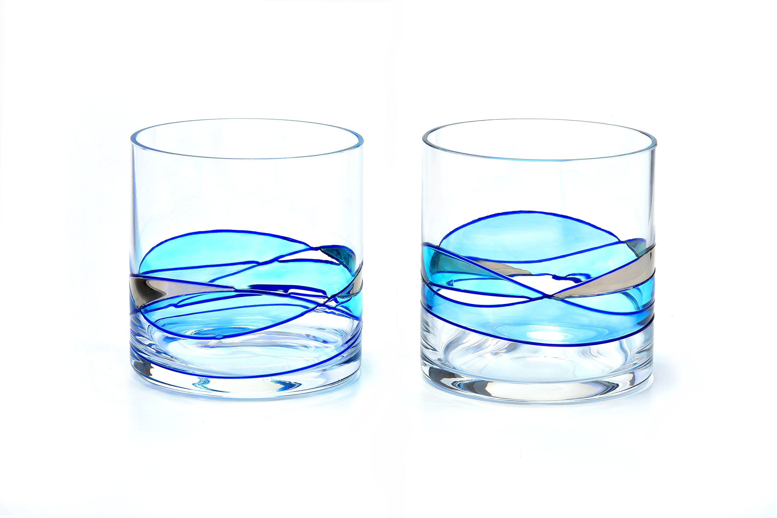 ANTONI BARCELONA Whiskey Glass 12oz - Unique Lowball Glass, Drinking Glasses, Old Fashioned, Bourbon, Scotch&Rocks Glass – Unique Gifts Set For Men, Women, Dad, Him, Groom (BLUE, 2)