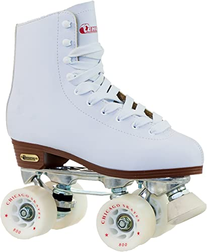 Chicago Women s Premium Leather Lined Rink Roller Skate – Classic White Quad Skates