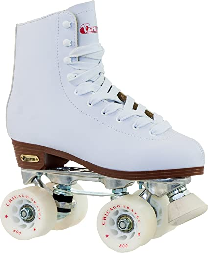White Chicago Women/'s Leather Lined Rink Roller Skate Size 8