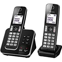 Panasonic DECT Digital Cordless Phone with Answering System & Twin-Pack Handsets, Black (KX-TGD322ALB)