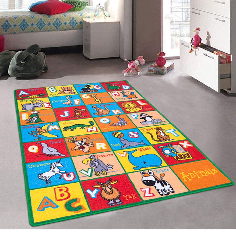 Kids / Baby Room / Daycare / Classroom / Playroom Area Rug. ABC Animals. Zoo. Lion. Dinosaur. Mokey. Educational. Fun. Non-Slip Back. Bright Colorful Vibrant Colors (5 Feet x 7 Feet)