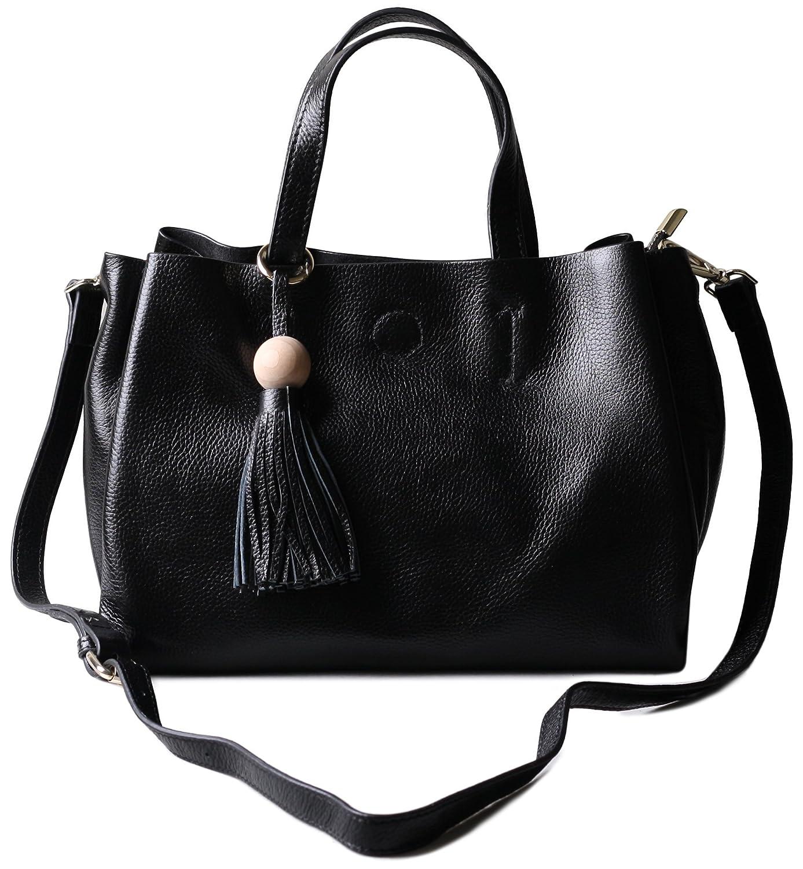 Borgasets Women's Handbag Genuine Leather Tote Shoulder Bags Soft
