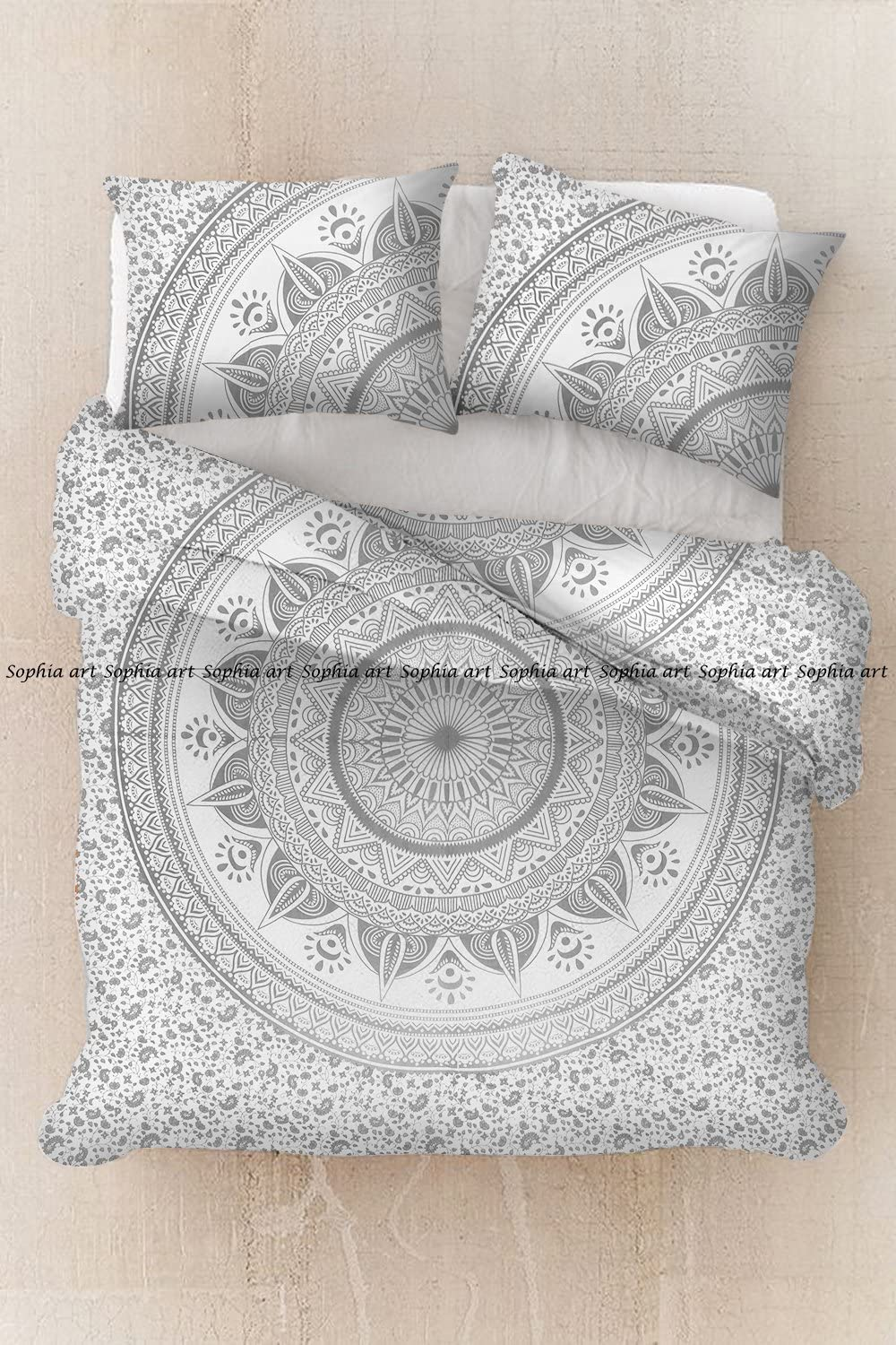 Duvet Doona Cover Reversible Ombre Mandala Indian Hippie Quilt with Pillow Cover