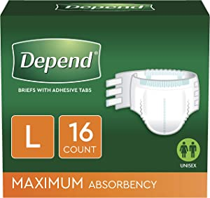 Depend Incontinence Protection with Tabs, Maximum Absorbency, L, 48 Count (3 Packs of 16 Count) (Packaging May Vary)