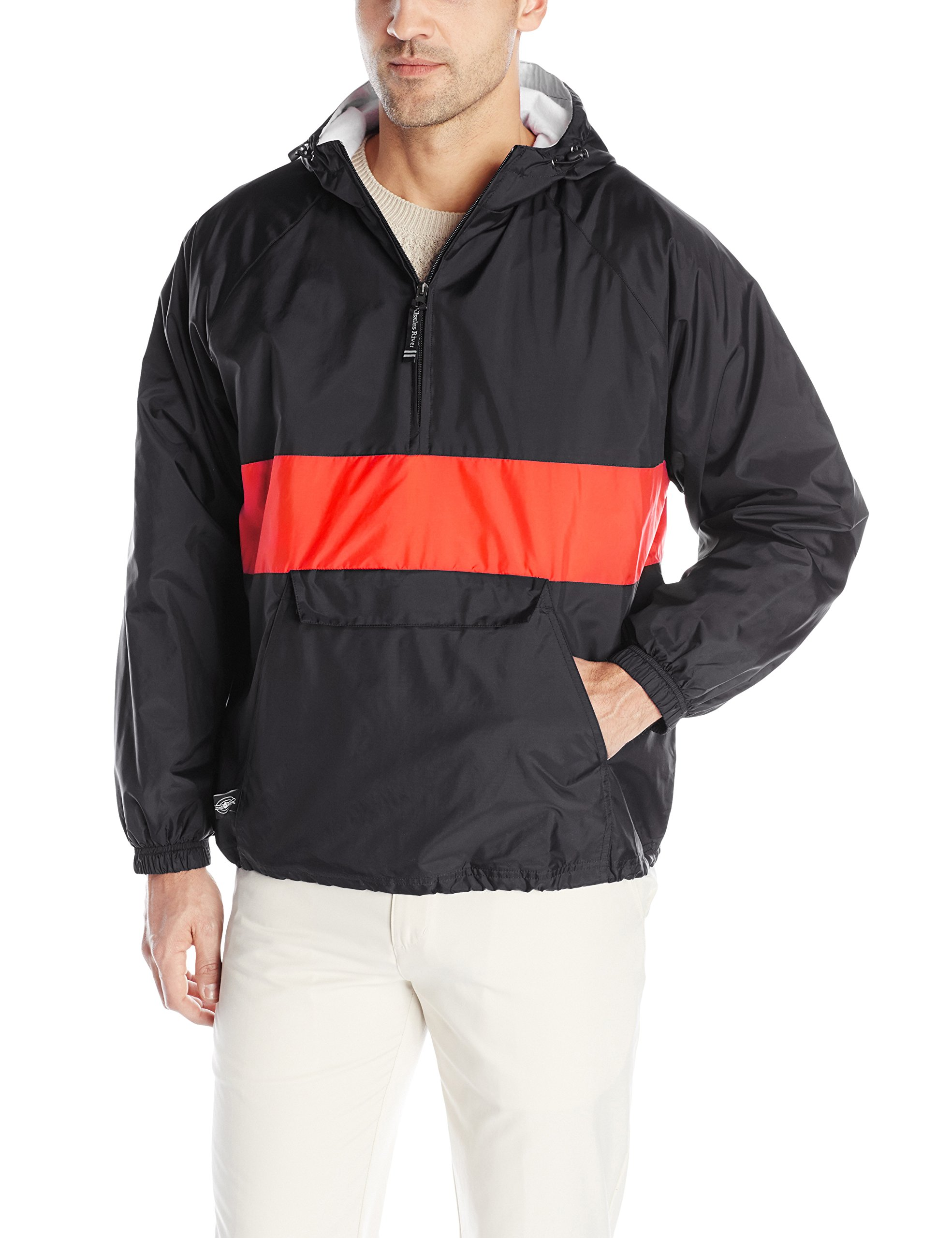 Charles River Apparel Men's Classic Striped Pullover Jacket, Black/Red, Large