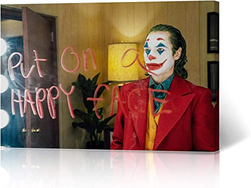New Joker 2019 Joaquin Phoenix Canvas Print Put on a Happy Face Quote Wall Decor Office Dorm Room Bathroom Living Room Bedroom Wall Art Ready to Hang 24×36