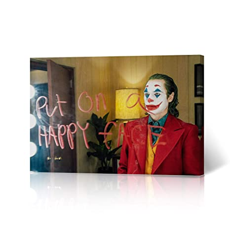joker joaquin phoenix canvas print put on a happy face quote
