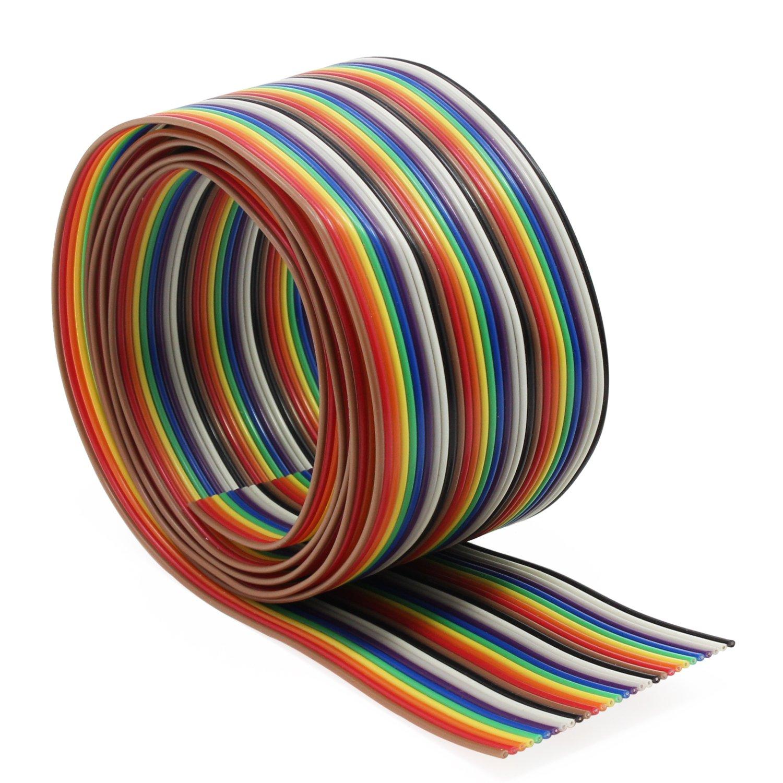 Aussel Cavo piatto 1.27mm Cavo piatto color arcobaleno per connettori 2.54mm 10Wire//6M