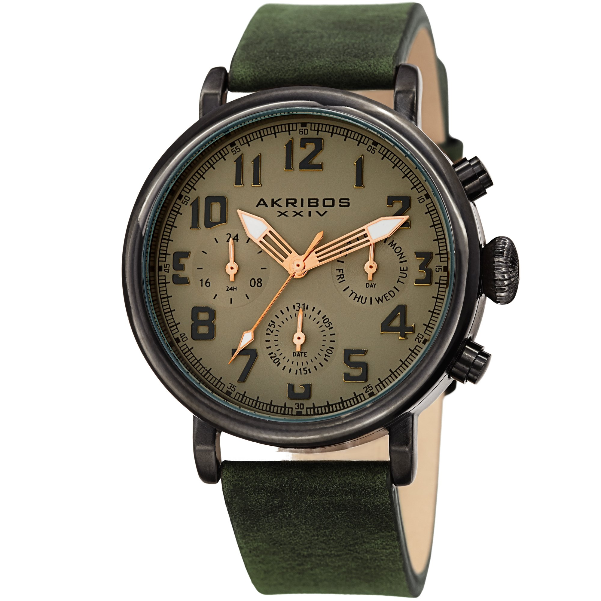Akribos XXIV Men's AK1028GN Multifunction Gun & Olive Green Leather Strap Watch