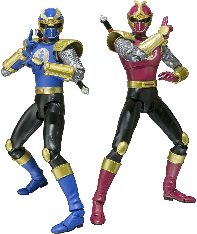 Bandai Tamashii Nations SH Figuarts Crimson Thunder Ranger and Navy Thunder Ranger Power Rangers Ninja Storm Action Figure Set
