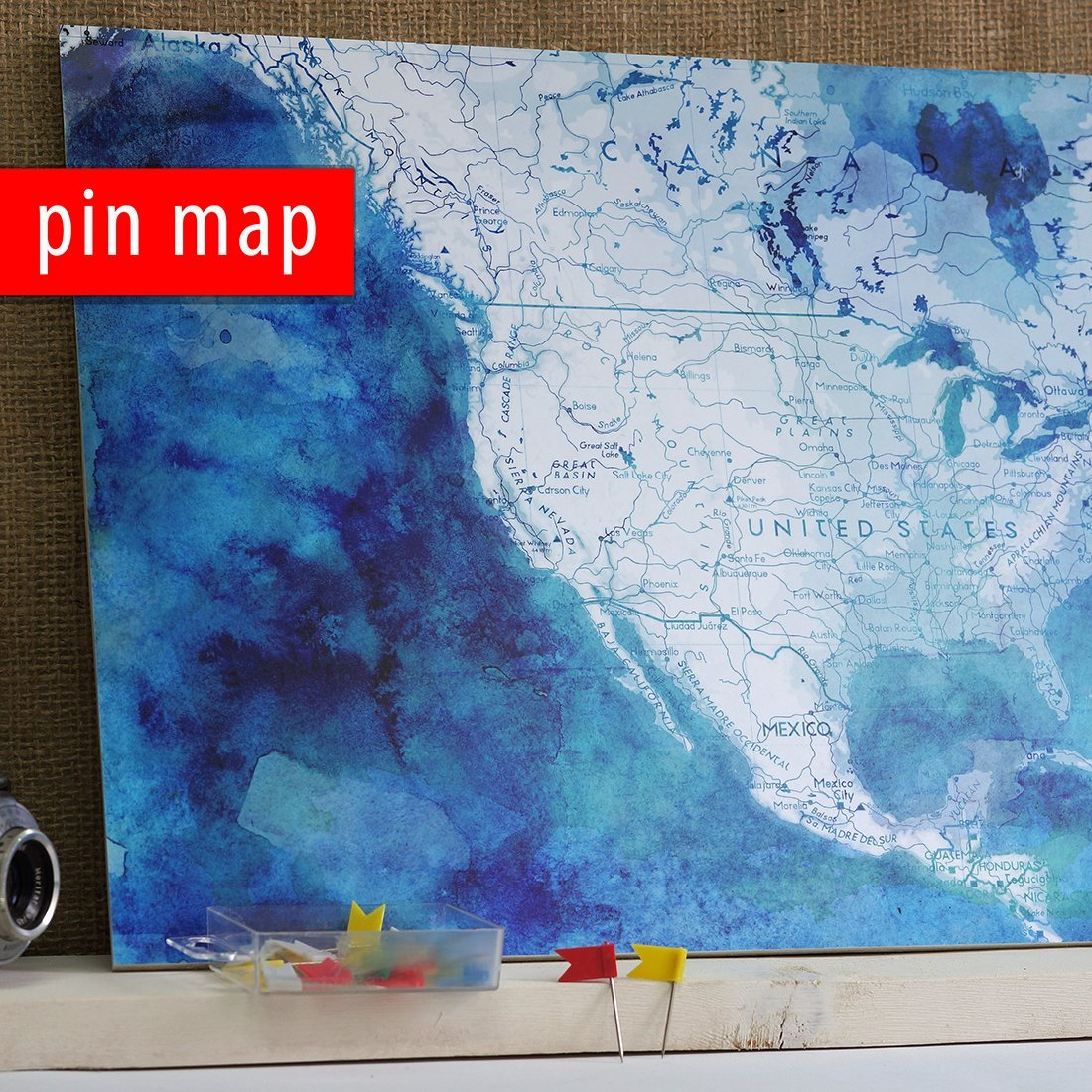 A3 size Pin Map of America-Watercolor Foamboard A3 size map, Ready For Hanging box with 20 pins Paper on Foamboard Push Pin Map of USA