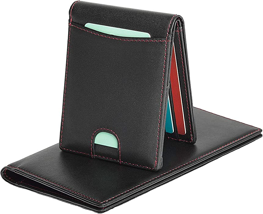 0c9a32ecb2dc Slim Bifold Leather Wallet RFID Blocking Easy Access Card Holder and ...
