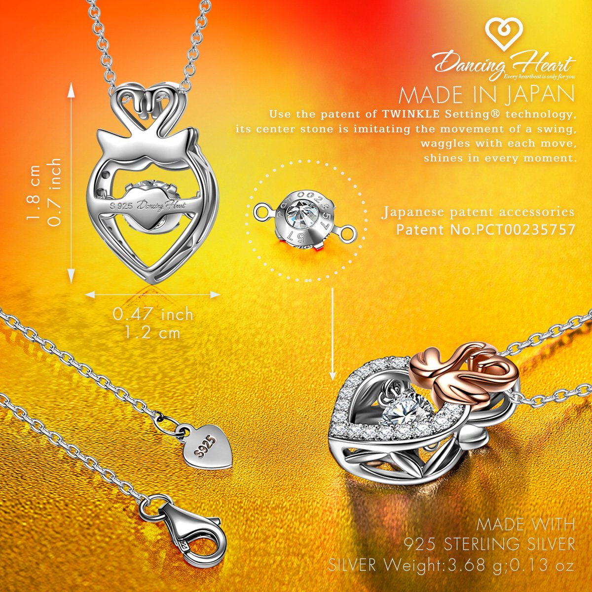 DANCING HEART Dancing Stone Jewelry Set 925 Sterling Silver Rose Gold Swan Women Necklace CZ Pendant Necklace for Women Allergy Free with Gift Package – The Diamond Keeps Moving As If It is Dancing