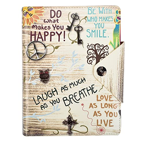 Arpan A5 Executive Personal Organiser Ruled Notebook, ''Life inspirational slogans'' Padded Leather Cover With Stud button closure (Slogan Cream)