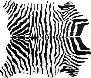 Ivalue Zebra Print Area Rug Faux Zebra Hide Soft Fluffy Fur Throw Rug Fluffy Floor Carpet Rug Mat for Living Room Bedroom(4.6ft x 5.2ft, Black)