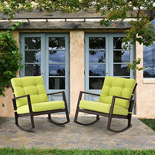 Crownland 2-Pack Outdoor Patio Rocking Chair Wicker Chair with Thick Cushion Rocking Bistro for Backyard Balcony Garden Pool, Green