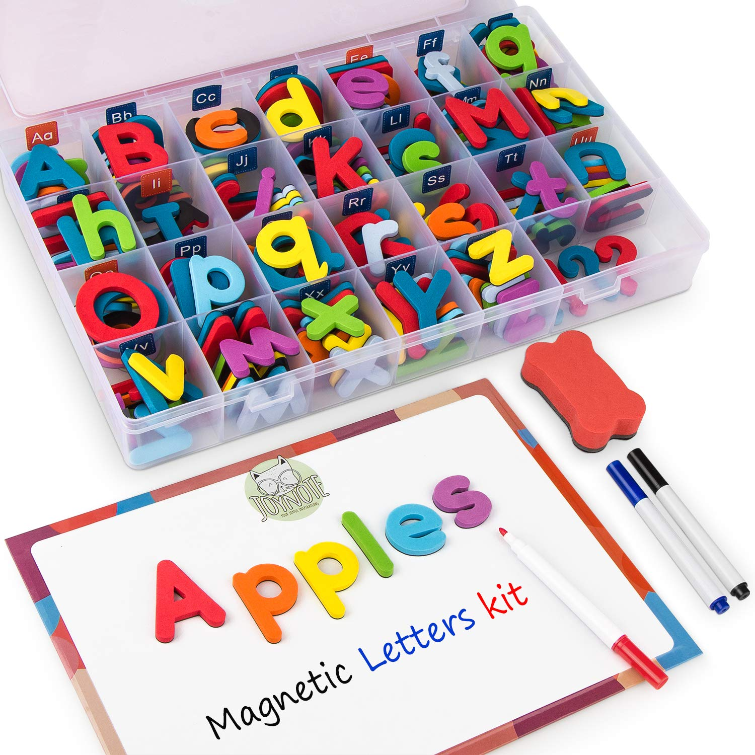 Gamenote Classroom Magnetic Alphabet Letters Kit with Double-Side Magnet Board - Foam Alphabet Letters for Preschool Kids Toddler Spelling and Learning(208pcs in Box) Colorful