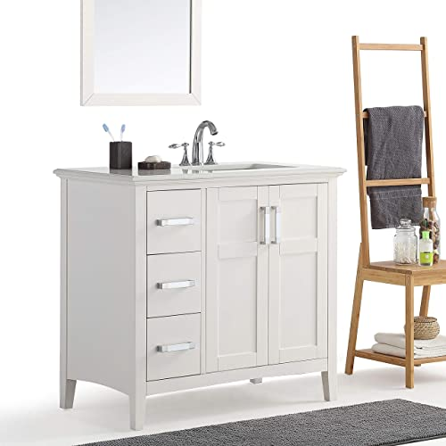 Simpli Home Winston 36 inch Contemporary Bath Vanity in Pure White with Bombay White Engineered Quartz Marble Extra Thick Top